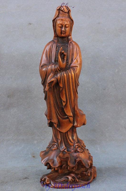 Crafts statue Old China Buddhism Boxwood Wood Hand-carved GuanYin Kwan-yin Goddess Vase StatueCrafts statue Old China Buddhism Boxwood Wood Hand-carved GuanYin Kwan-yin Goddess Vase Statue