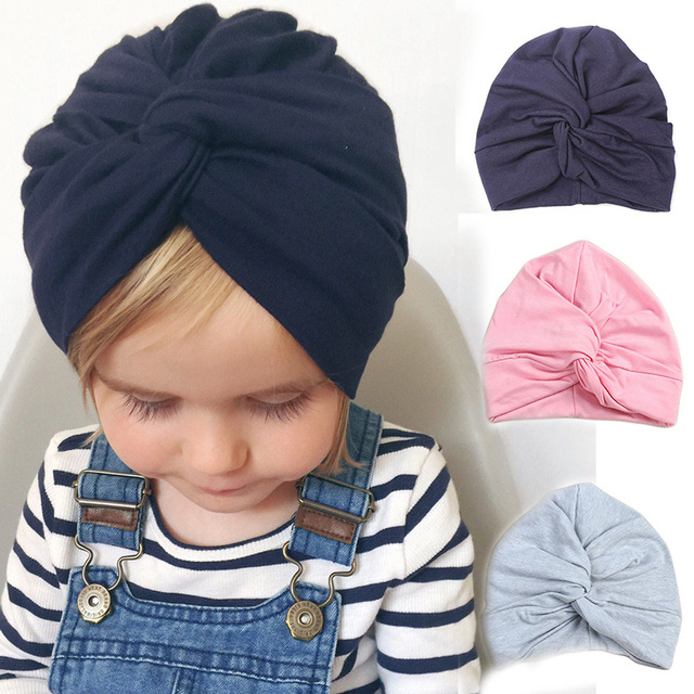965feabefd5 Cute Baby Hat Winter Autumn Cotton Soft Girl Hat Knot India Style Infant  Caps Turban Newborn