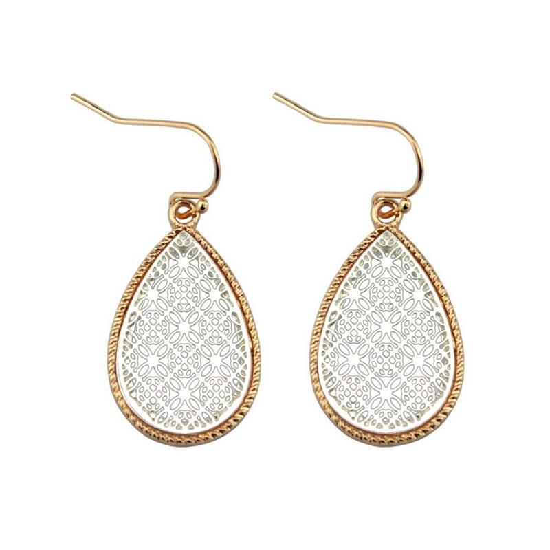 Two Tone Gold Black Filigree Teardrop Earrings for Women 8 colors option