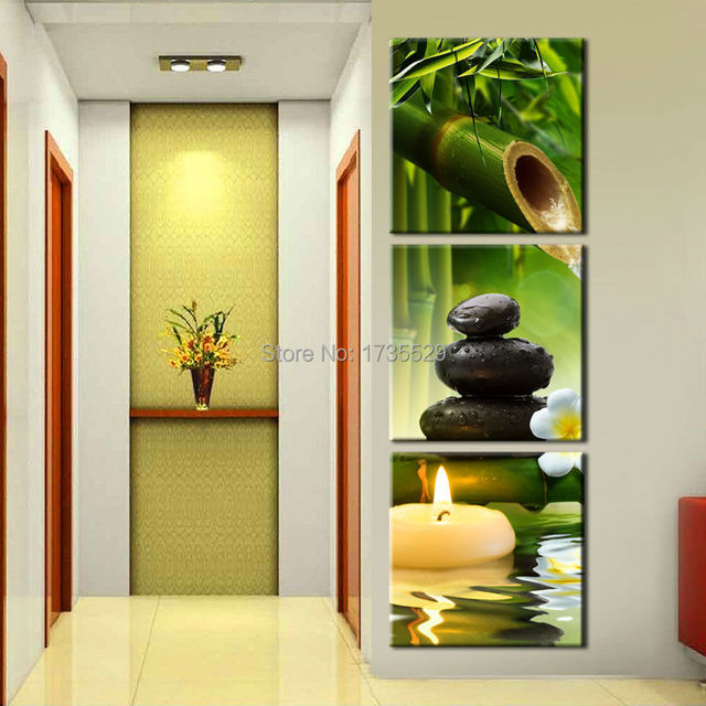 3 panel wall art oil painting spa stone bamboo candles home ...