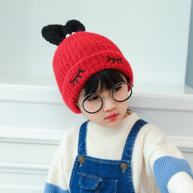8596841ac1d Baby hats Beanie For Boys Girls Long Rabbit Ears Children Dots Hats  (45-50cm) knit cap beard girls costume