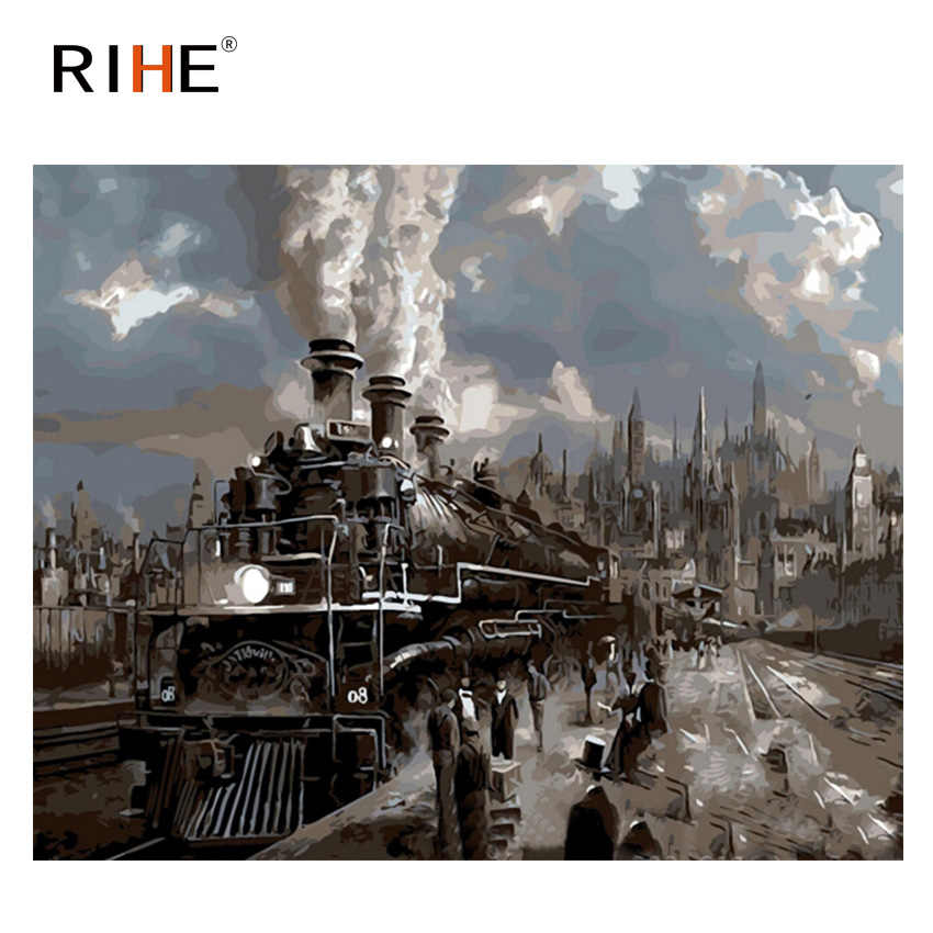 RIHE Train Travel Diy Painting By Numbers Railway Station Oil Painting On Canvas Hand Painted Cuadros Decoracion Acrylic Paint
