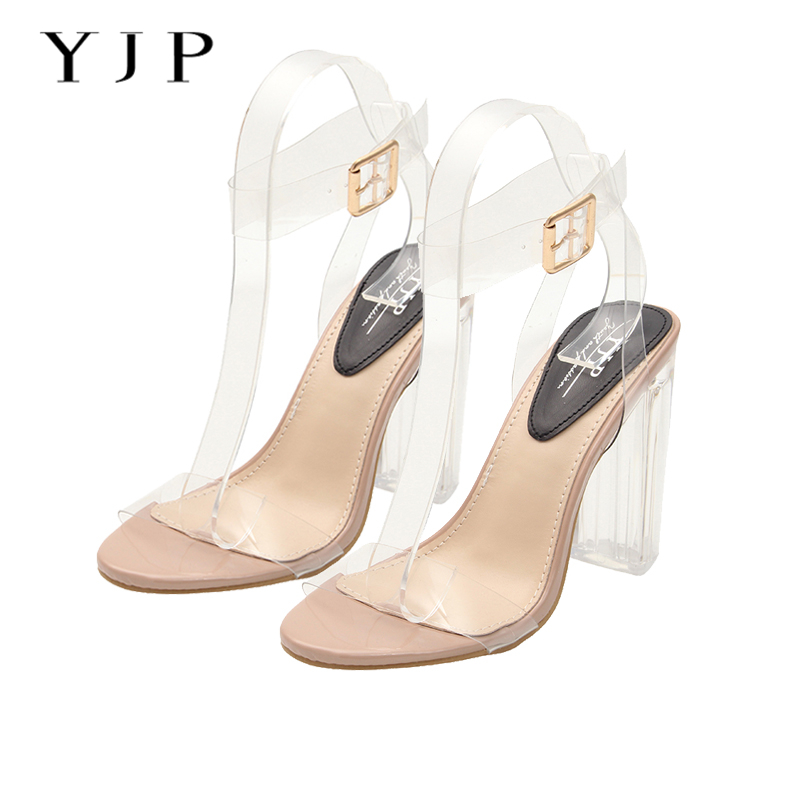 020ecff26ed RASMEUP PVC Clear Womens High Heel Jelly Sandals Fashion Woman Ankle Strap  Transparent Perspex Shoes Women Open Toe Sandals