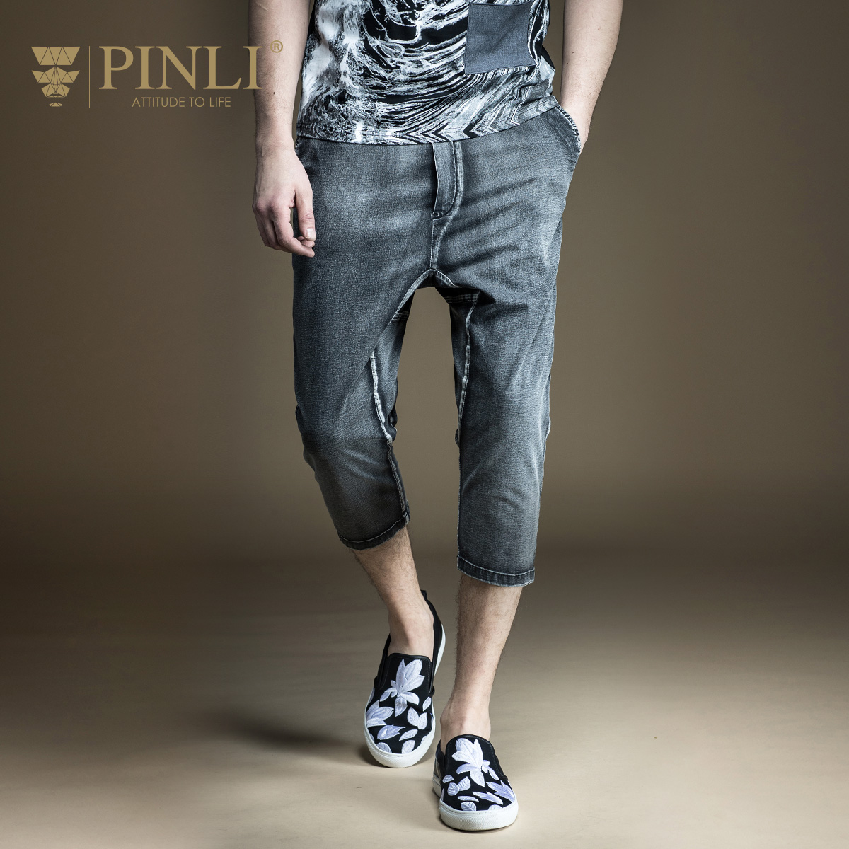 Pinli Time limited Acetate Knee Length Midweight Pencil Pants Mid Drawstring 2017 Summer New Male Only