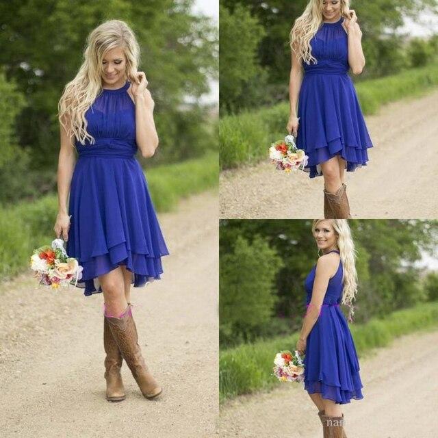 cc3e85c9c4 Cheap Country Bridesmaid Dresses Short 2016 Modest Royal Blue Beach Wedding  Guest Wear Plus Size Knee Length New