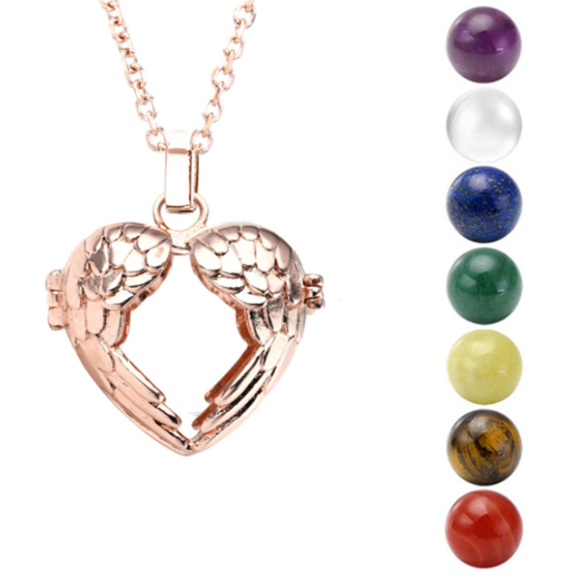 28-31.5 inchs White-K Gold Rose Golden Plated 7 Chakra Stone Reiki Healing Point Ball Beads Locket Pendant Chain Necklace Set