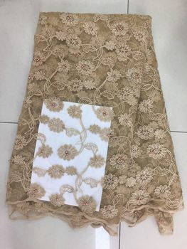 2019 French Embroidered Mesh  Lace Fabric beads African Lace Fabric High Quality Guipure Lace For Nigeria Lace Wedding