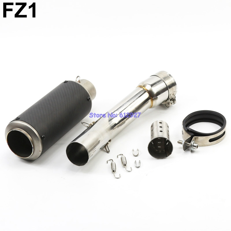 Motorcycle for Yamaha FZ1 / FZ1000 Exhaust Link Middle Pipe and Carbon Fiber Exhaust Muffler Escape DB Killer