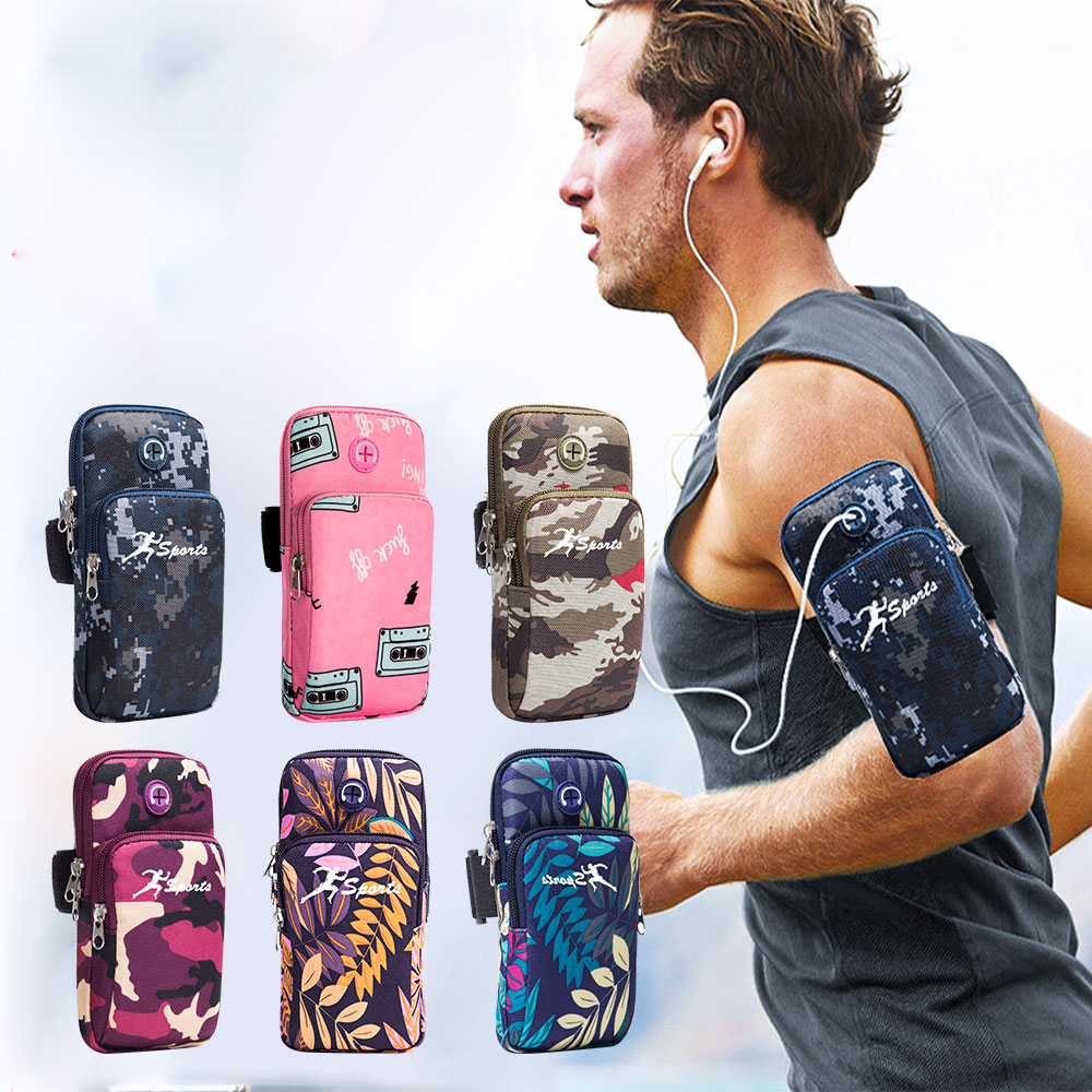 running - Creative Running Arm Bags Autumn Camouflage Branch Style Arm Package Holders for Phone Money Keys with Headset Hole