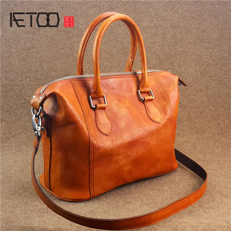 AETOO 2017 new European and American style ladies first layer of leather leather shoulder bag British wind oblique female packag aetoo leather men bag wild european and american first layer of leather men s shoulder bag trend backpack