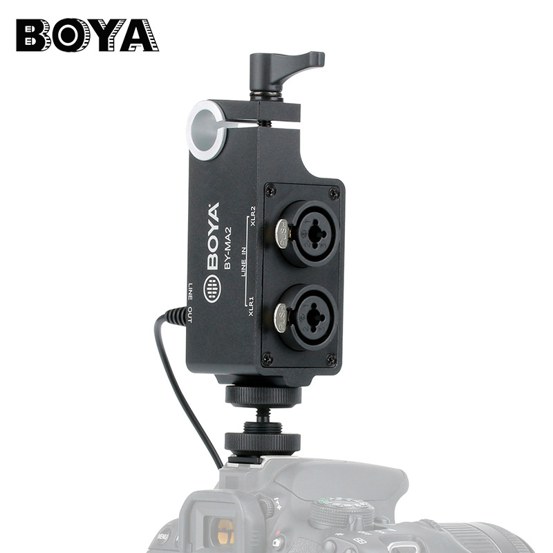 BOYA BY-MA2 Dual-Channel XLR Audio Mixer with 6.35mm input 3.5mm Jack for Canon Nikon DSLR Camcorders Wireless Microphone System usb 6 led white light desk lamp w switch clip white silver dc 5v 3 x aaa