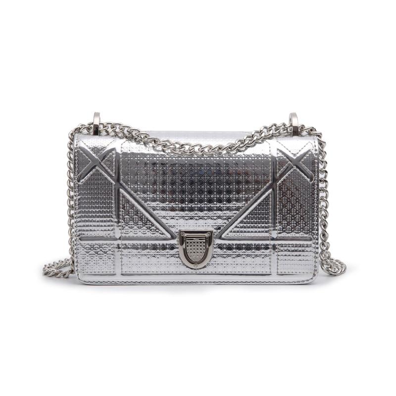 LACATTURA Hot Sale Luxury Brand Designer Women Bag High Quality Genuine Leather Small Silver Mirror Shoulder Bag Messenger Flap sat1178 high quality diy silver mirror