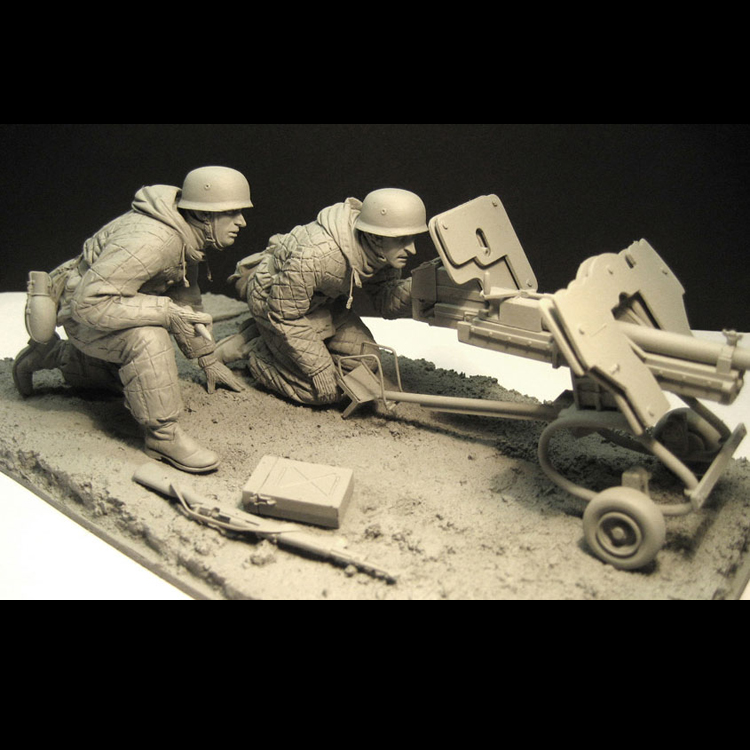 1/16 Resin Model Soldier World War II Soldier East War Battery Scene  Unpainted And Unassembled  Kit