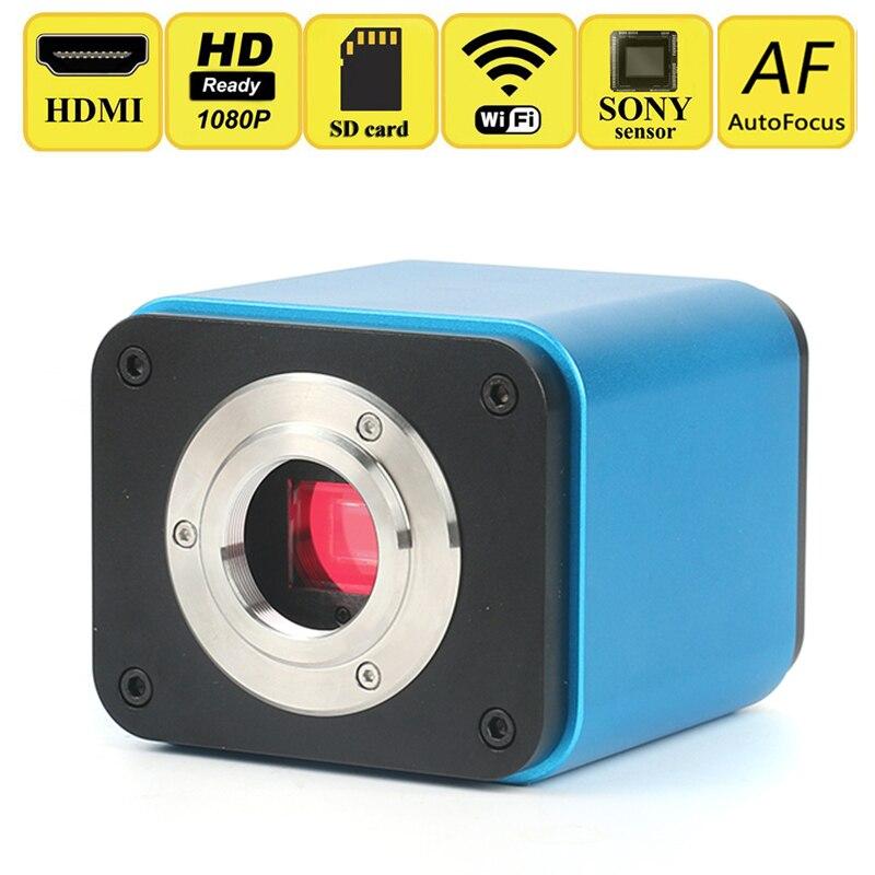 AutoFocus 1080 p HD HDMI WIFI L'industrie Vidéo Microscope Caméra SONY Capteur IMX185 SD Carte Biologique Microscope Stéréo Microscope