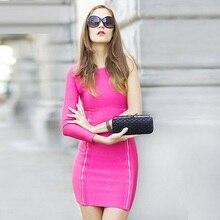 Hl celebrity eine schulter rosa quaste bandage-dress partei niedlichen cocktail-party kleider