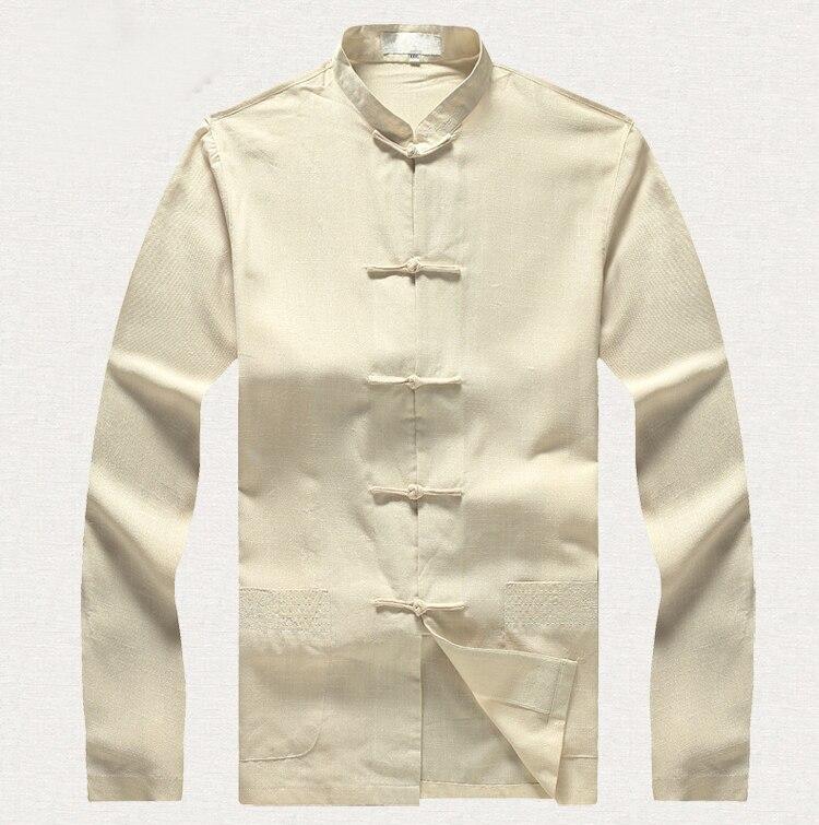 Beige hommes grande taille coton chemise à manches longues 3XL 4XL 5XL 6XL grande chemise lâche Style chinois mâle Kung Fu vêtements 2352