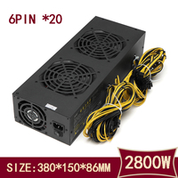 New 2800W 20Pin 2 In 1 Mining Power Supply Mining Power with Four 4 Fans For A6/A7/s5/s7/B3/E9/L3+ R4 Miner 12V 233A