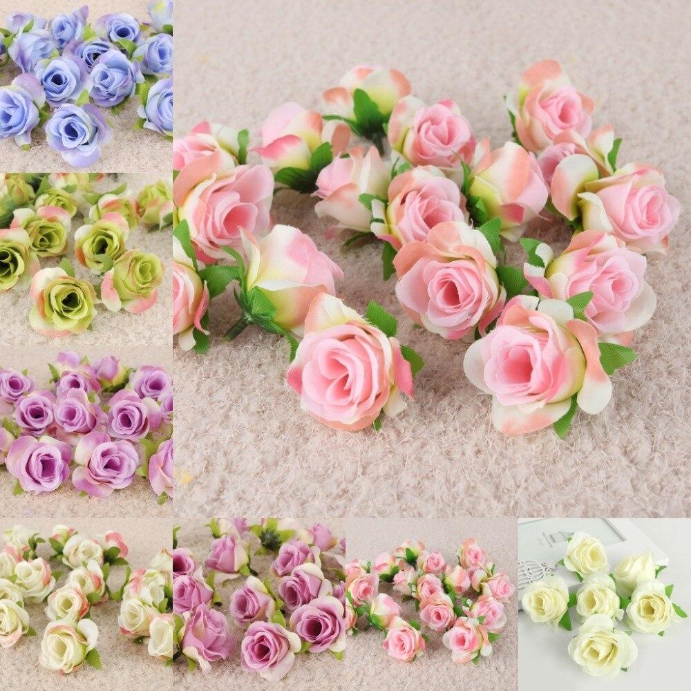 50pcs 3.5cm DIY Mini Wedding Flowers Artificial Silk Rose Flower ...