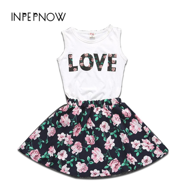 2019 New Ins Korean LOVE Letters Girls Dresses for Party and Wedding Sleeveless Vest + Children Christmas Dress LYQ-CZX47
