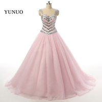 2019 A line Pink Wedding Dress Long Bride Dress Beaded Charming Crystals Lace Up Real Pic vestido de noiva x12116