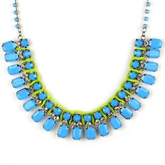 486354cdf1b AOLOSHOW azul acrílico piedras verano joyería gargantilla collar mujer gran  tamaño neón caramelo ...