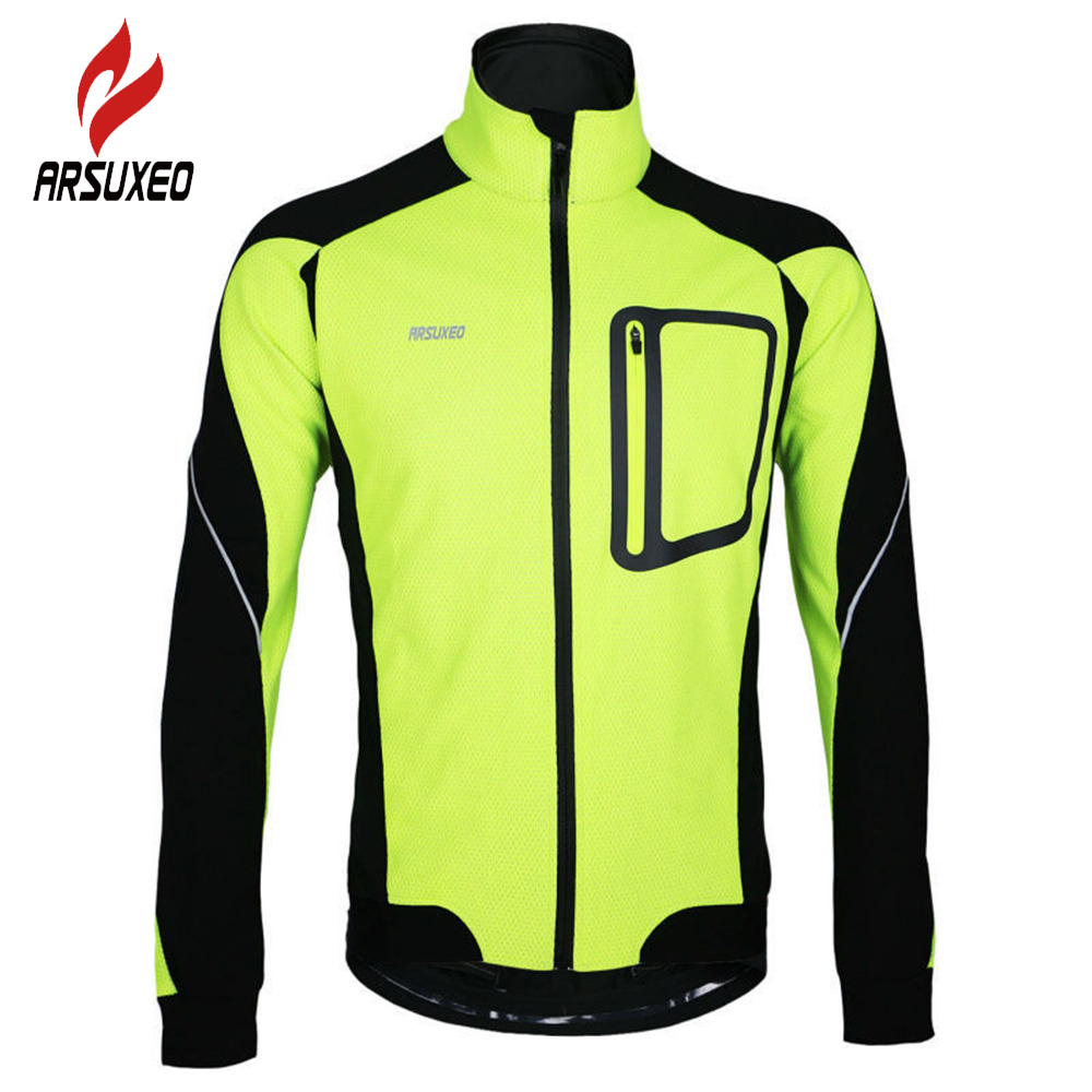 ARSUXEO Winter Thermal Fleece Bike Bicycle Wind Coat Long Sleeve Bicycle Clothing Equipment Reflective Cycling Jacket Winter