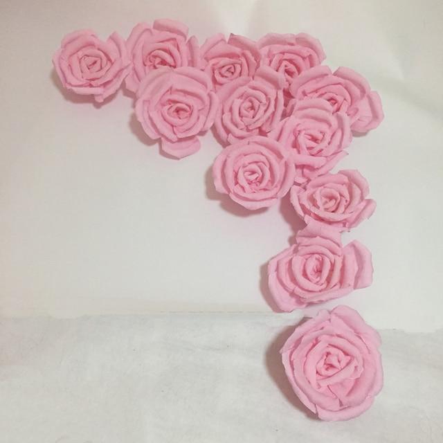 Handmade Crepe Paper Rose Flowers For Wedding Backdrops Background