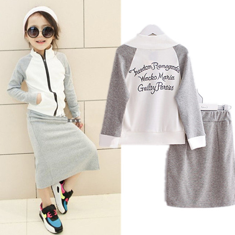 2018 fashion grey babyGirls clothes set spring cotton casual letters jacket coat+skirt clothing sets 3-7 years kids clothes suit
