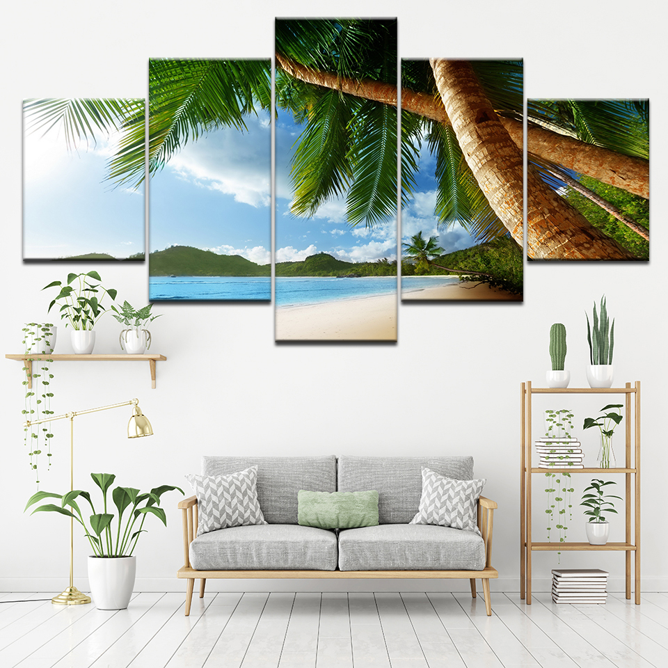 Canvas Painting View of sea shore with trees 5 Pieces Wall Art Painting Modular Wallpapers Poster Print living room Home Decor in Painting Calligraphy from Home Garden