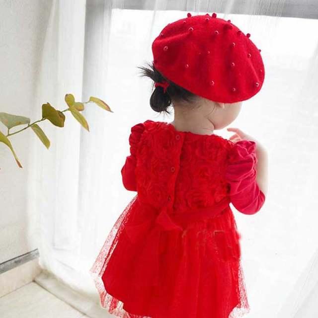 00b0a130d791f Online Shop 2018 Sale Solid Baby Girls Boinas Boina Feminina Hipster Joker  Pearl Wool Felt Beret Multicolor Painter Hat for Children