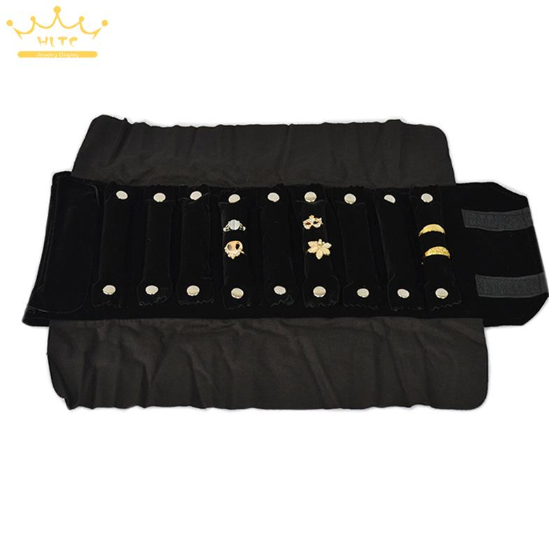 jewelry storage portable display cases black velvet organizer jewelry travel roll for 10 strip ring packaging - Jewelry Roll