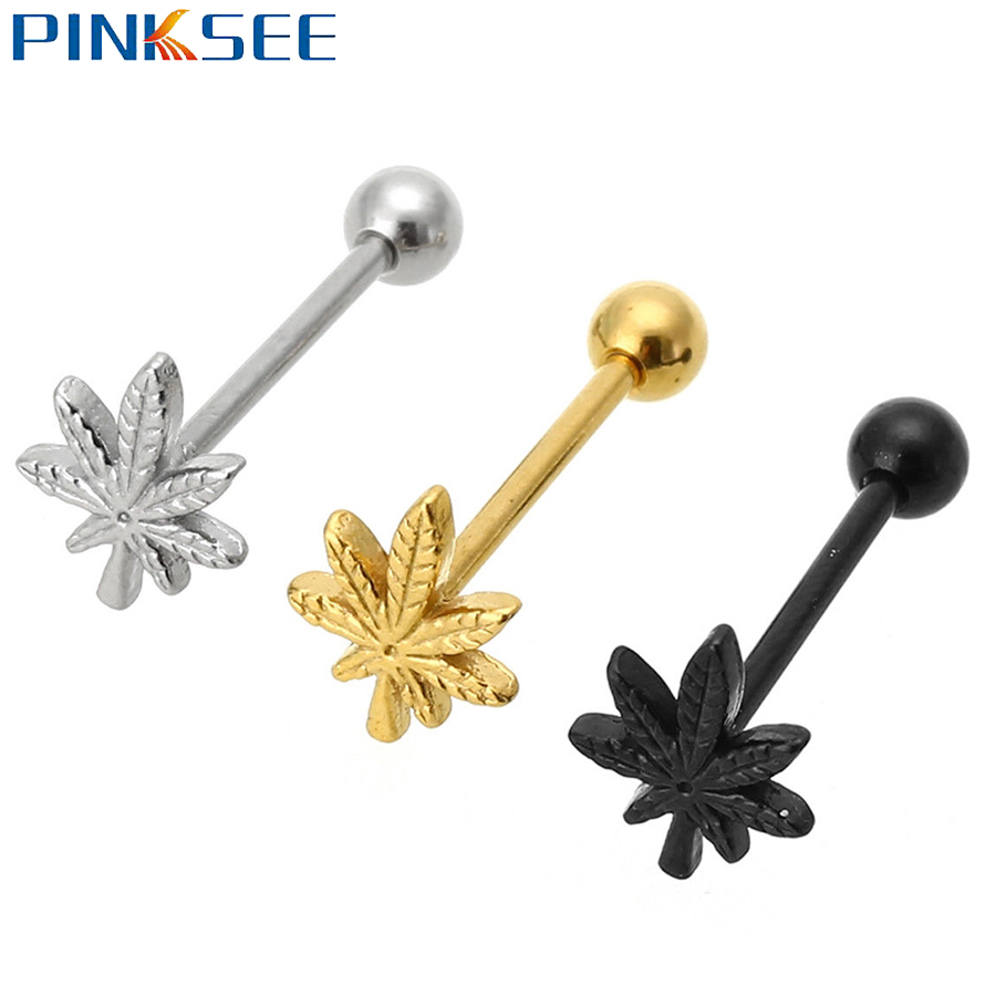 1Pcs Fashion Leaf-shaped Tongue Ring Stainless Steel Stud Body Piercing Jewelry