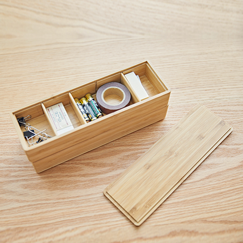 Bamboo Wood Office Desk Organizer Multi-Use Creative Office Supplies Stationery Box Can Strip Storage Box in the Drawer Stack 4