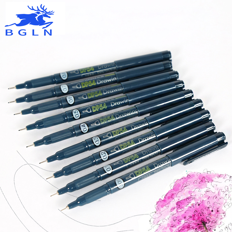 Bgln Waterproof Needle Pen 9Pcs Painting Brushes Set Hook Lin Pen Art Supplies Stationery 100pcs box zhongyan taihe acupuncture needle disposable needle beauty massage needle with tube