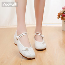 Veowalk Women Jacquard Cotton Flat Shoes Woman Soft Ballerinas Ladies Ballet Flats Casual Comfortable Chinese Embroidered Shoes