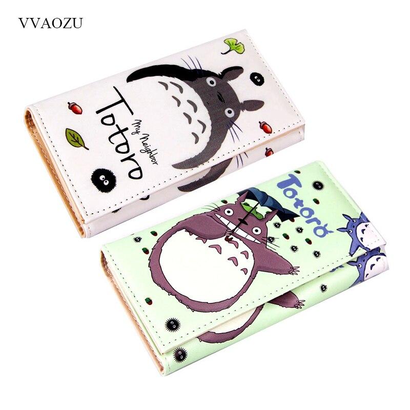 Dibujos Animados mi vecino Totoro mujeres billeteras PU cuero estudiantes cartera tarjetas titular mujeres embrague Hasp monedero dinero bolsas