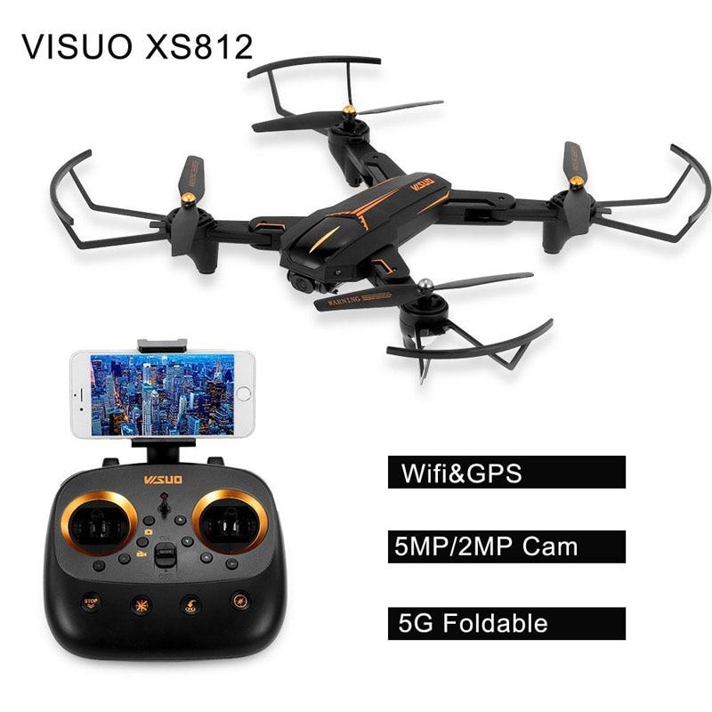 2018 New Hot VISUO XS812 GPS 5g WiFi FPV 2MP/5MP HD Della Macchina Fotografica 15 minuti Tempo di Volo Pieghevole RC Drone Quadcopter RTF