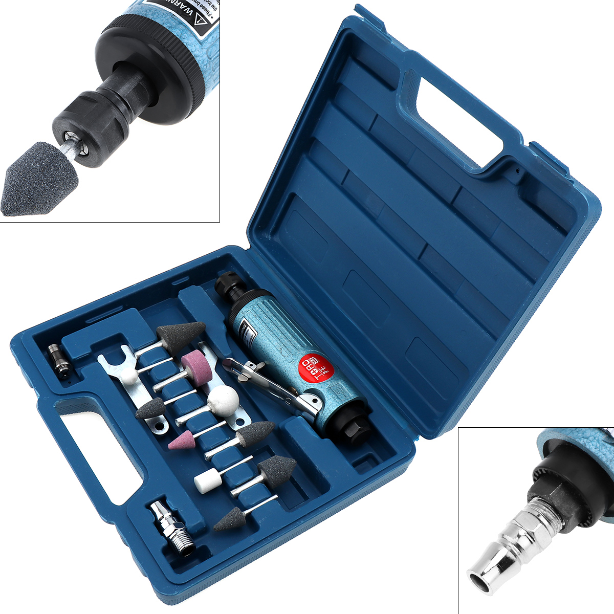 New TORO 1/4 Inch Large Pneumatic Grinding Machine Mold Air Compressor Die Grinder Tool with 14pcs Rotary Tool Kit