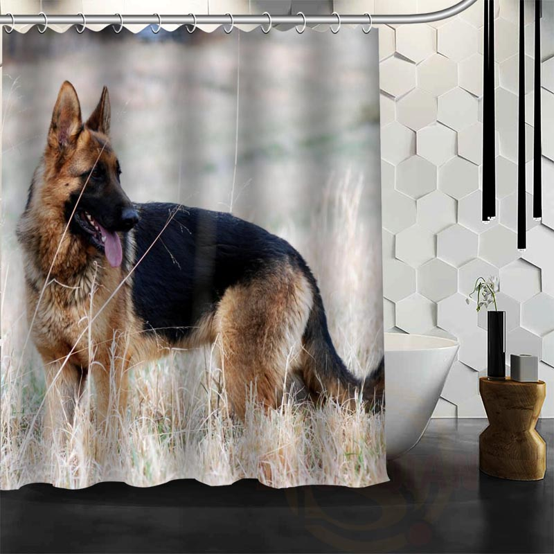 Best Nice Custom German Shepherd Dog Shower Curtain Bath Curtain Waterproof Fabric Bathroom MORE SIZE WJY&43