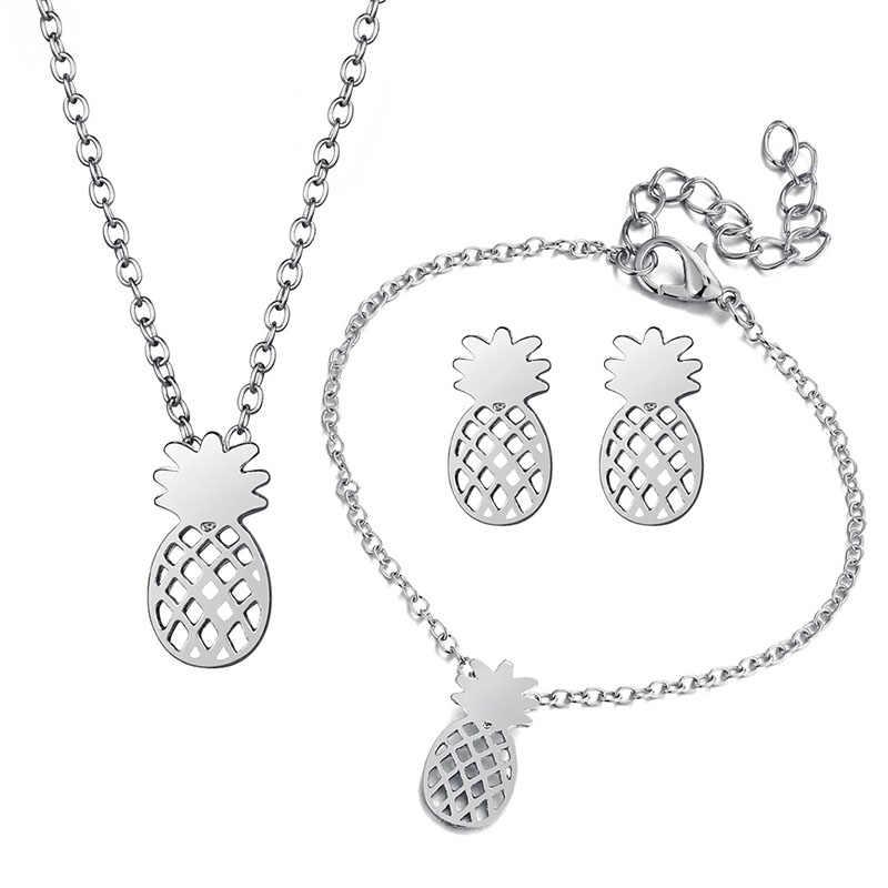 זהב שרשרת עגילי צמיד תכשיטי סטים חמוד אננס מסיבת כלה תכשיטי סט הטוב ביותר חברים מתנות תורכי תכשיטי J30