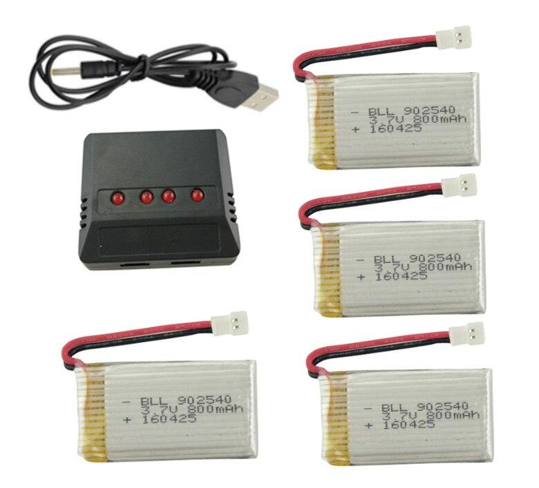 Syma X5C X5C-12.4G X5SW X5S X55 H5C RC Drone Atualize Acessórios 800 mAh da bateria * 4 PCS + Carregador USB Peças de reposição