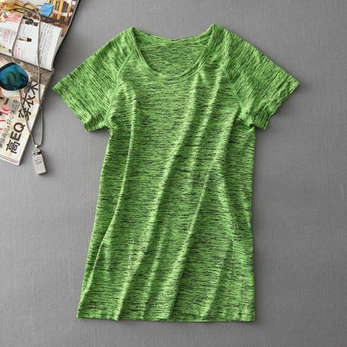 MAIJION Супер быстросохнущая женская футболка с короткими рукавами для тренажерного зала, фитнеса и йоги - Цвет: Зеленый