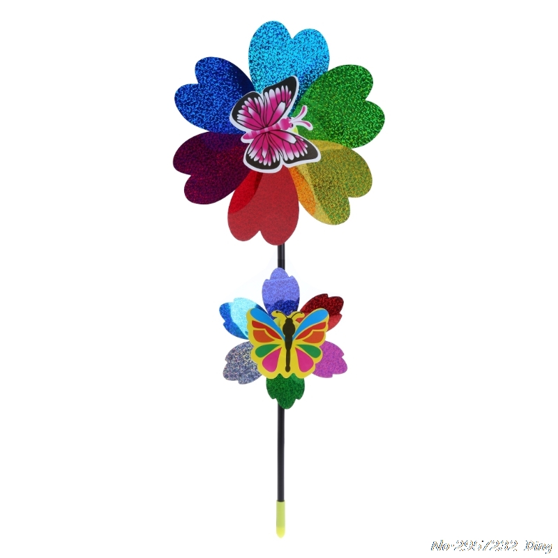 Colorful Sequins Windmill Wind Spinner Home Garden Yard Decoration Kids Toy  CHE1 1