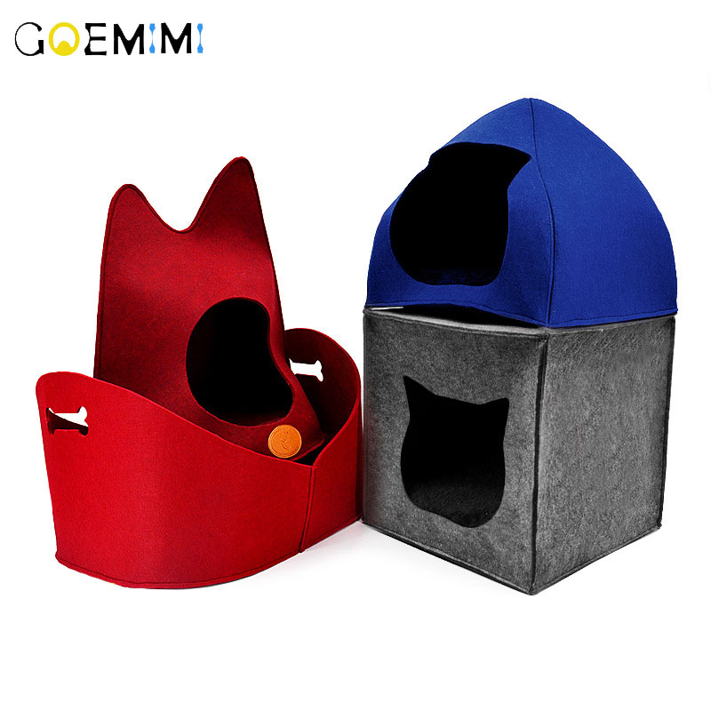 Pet Cats Bed Felt Puppy 4 Shape Cat Kennel House Warm Nest For Dog Mats Top Quality