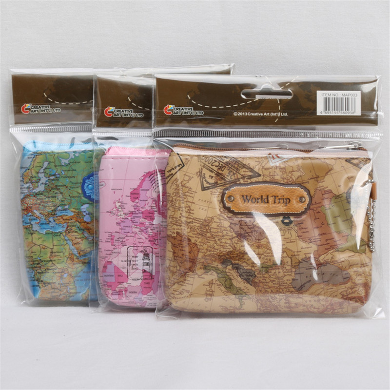 World Map Trip Flower Skull Women Boys Girls Coin Holder Wallet Hand Bag Portable Make Up Case