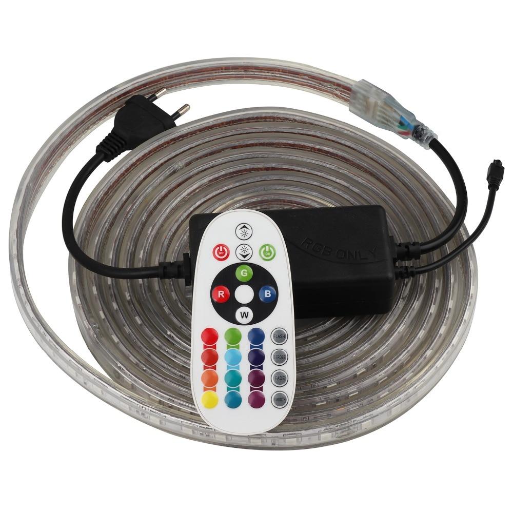 Controle remoto RGB LED Strip 220 V 220 V Luz de Tira CONDUZIDA impermeável IR 60 60leds/m 5050 fita faixa de corda fita luz ledstrip IL