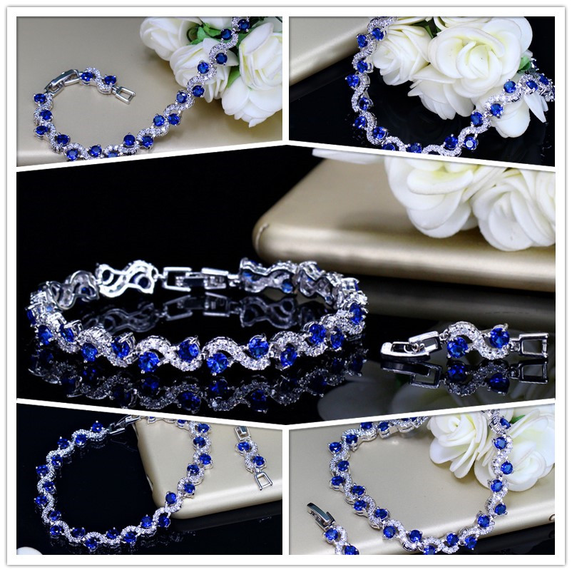 Pera 5 Color Options Fashion Ladies Sterling Silver Cubic Zirconia Royal Blue Stone Bracelets Jewelry For Christmas Gift B017 7