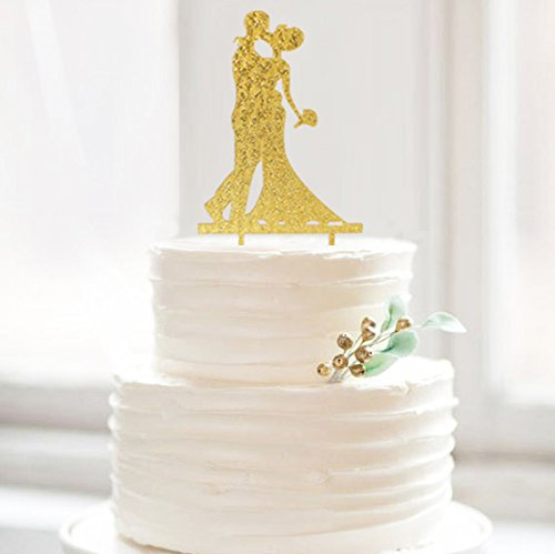 Us 29 99 40 Off Saprkle Gold Bride And Groom Acrylic Wedding Cake Toppers Cake Stand Wholesale With Free Shipping 10pcs Lot Decorations In Cake