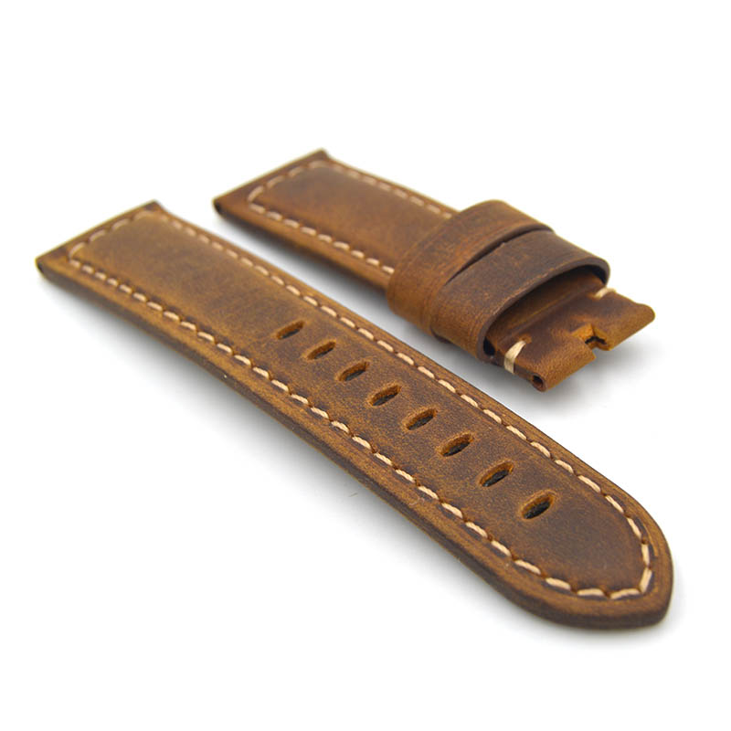 Men Brown Blue Green Yellow Strap Watch Accessories, Handmade 22mm 24mm Leather Strap Watchbands For Panerai, Free shipping!