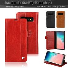 For Samsung Galaxy S10 Plus Case Cover Pierre Cardin Classic Genuine Leather Stand Card S7 edge Anti fall
